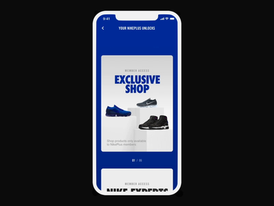 Nike Plus Unlocks exclusive customize reserved for you 2017 nikeplus nike java android swift experts on demand membership unlocks card transition ios interaction ux ui motion