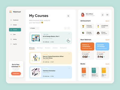 My School english school dashboard interface mobile design ux ui