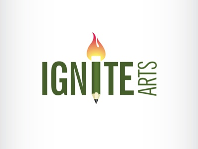 Ignite Logo creative art pencil flame fire ignite illustration branding icon logo design vector