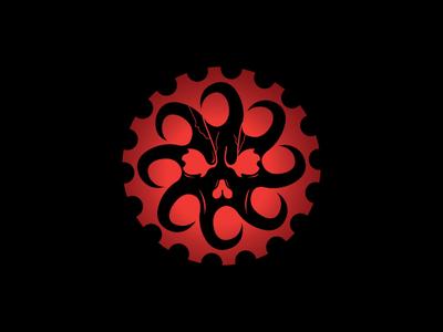 Kraken Gear esport squid octopus monster kraken mechanical gear icon vector logo design branding