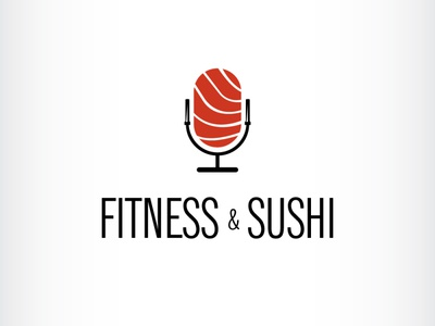 Fitness and food podcast logo gym barbell fitness japanese sushi podcast mic illustration branding icon logo design vector