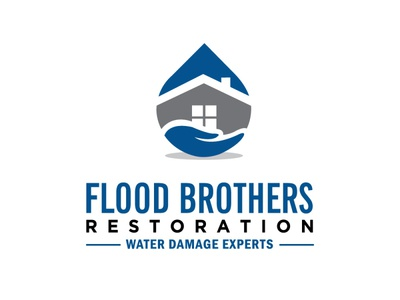 Flood restoration logo house damage repair restoration flood illustration branding icon logo design vector