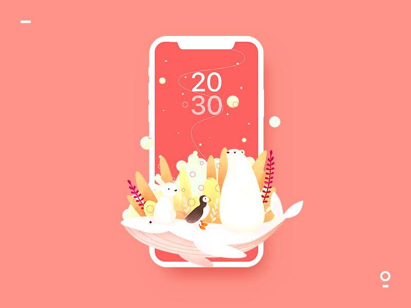 The wallpaper of the lock screen design ui illustration