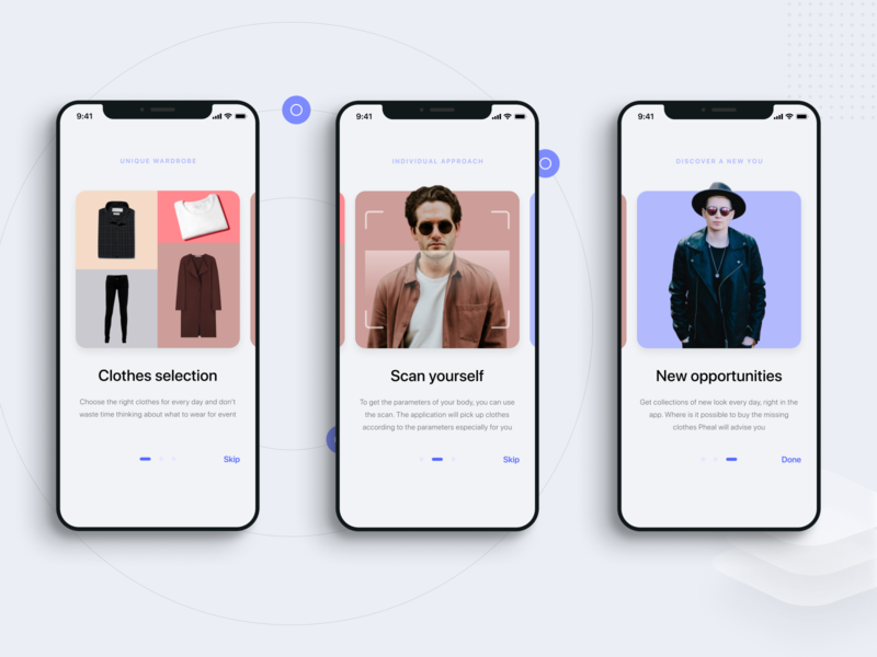 Pheal — outfit for every day, mobile application, onboarding