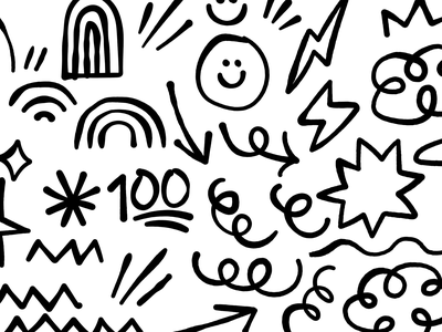 Messy hand rough scribble 100 vector illo messy icon hand drawn illustration ink