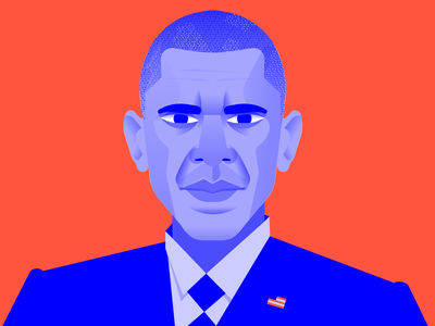Barry white house political president blue red usa illustration portrait vector design obama