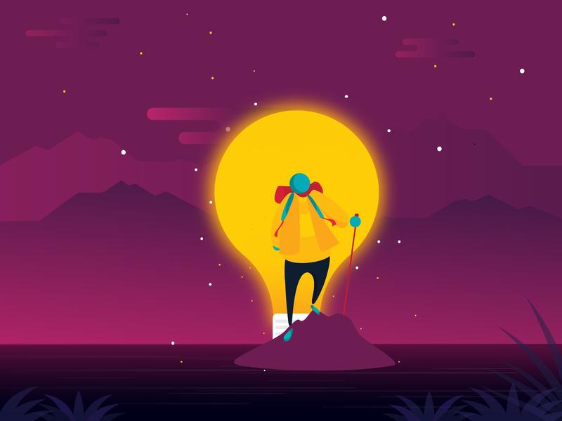 Hello dribbble - Great ideas start here illustration