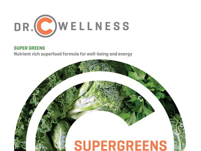 Dr.C Wellness supplement pouch supergreens logo vector type typography package design design lettering branding