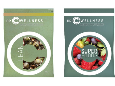 Dr.C Wellness dietary supplement pouch vector typography type package design logo lettering design branding