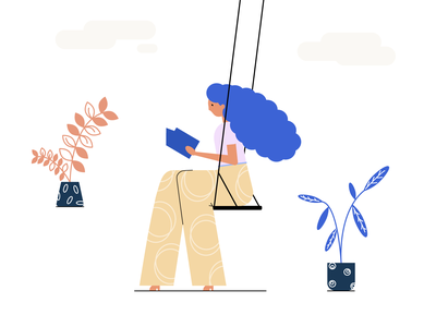 Reading Girl flowerpot reading leaves book swing homeplant pink orange clouds plants blue read girl illustrator illustraion