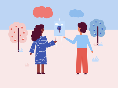 Painting girl with friend orange bluesky clouds painting nature grass fruitrees trees darkhair brush easel peach boy girl sky blue white illustrator design illustraion
