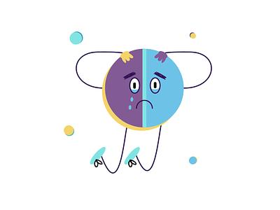 Sad pill anxiety ignorance aid help yellow eyes size mint blue violet sadness sad cartoon illustration design illustraion illustrator medicicne pill
