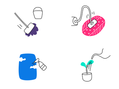 Cleaning home lines blue violet pink illustrator green clouds vacuumcleaner mop carpet window plant vector cleaning illustraion