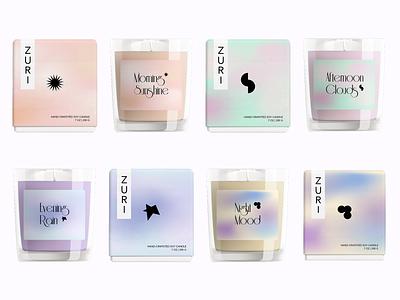 ZURI - candles branding organic box label simplelogo packaging candle sketch photoshop illustrator symbol gradient