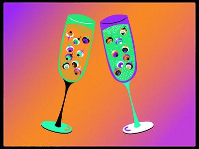 Halloween champagne 🥂 ui graphic design champagne fantasy halloween digitalart illustrator violet orange illustration design artwork abstract contrast adobe