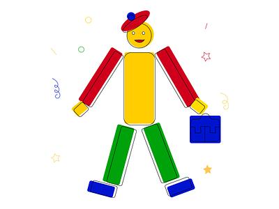 Happy businessman bag businessman man character simple green blue yellow red illustrator