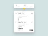 Ticket booking details card for a travel app.