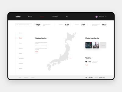 Stellar - Web UI Kit ui kit ux ui map desktop website japan tokyo discover landing web webdesign
