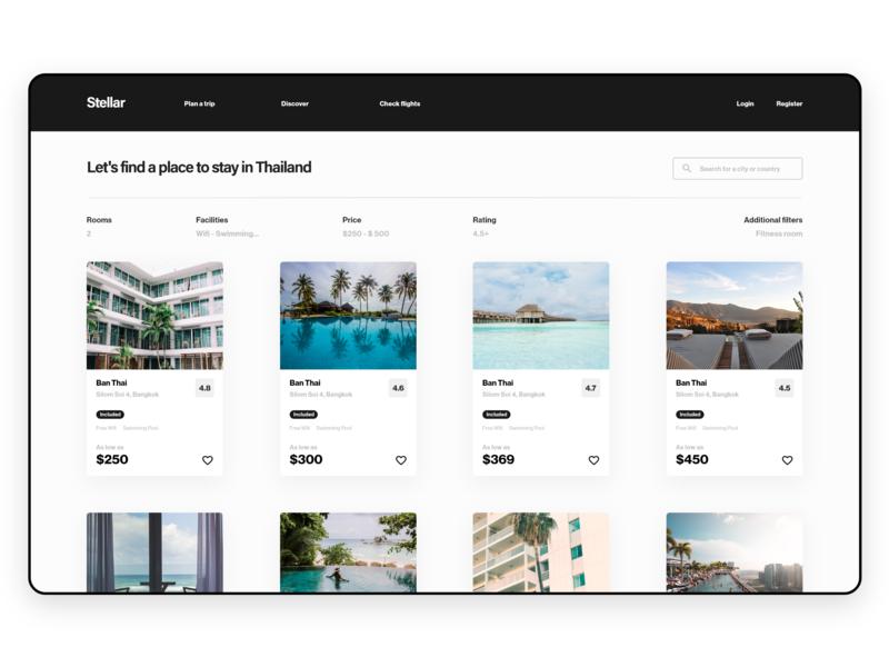 Stellar - Web UI Kit rent hotel booking hotel app website web design webdesign freebie xd ui kit travel app adobe xd uiux uidesign ux ui