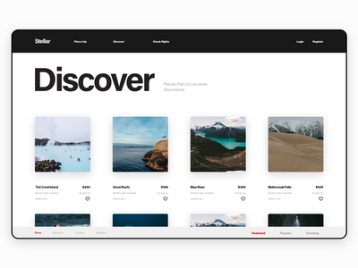 Stellar - Web UI Kit booking discover ticket flights travel webdesign ui kit travel app adobe xd uiux uidesign ux ui