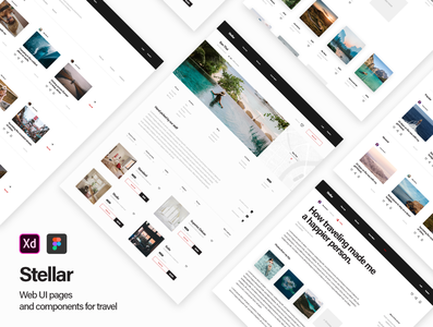 Stellar Web UI Kit web design hotel tickets stories blog flights booking travel web