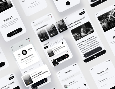 Story Writing App Concept branding mobile app mobile ui minimal concept gray black messages chat login timeline profile mobile blacklivesmatter medium article news uxdesign uidesign uiux