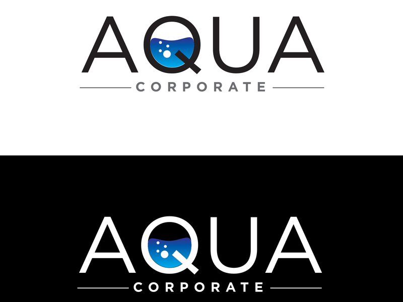 Aqua custom vector branding typography illustration flat design logo water