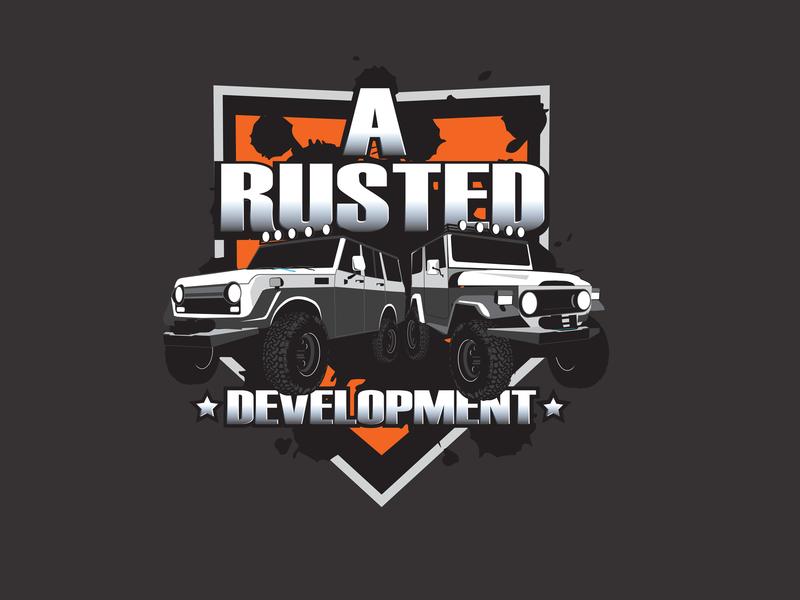 Rusted Dev custom logo vector typography illustration design branding