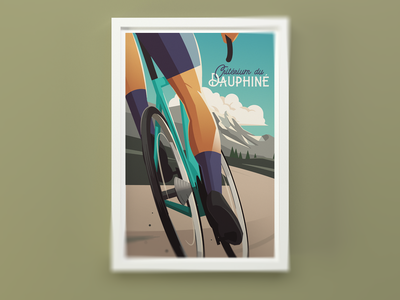 Criterium du Dauphine vintage poster mountains bike poster bicycle cycling illustration