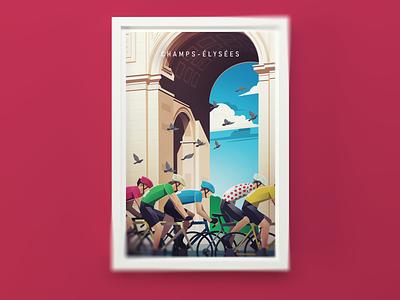 Champs-élysées vintage poster paris france bike poster bicycle illustration cycling