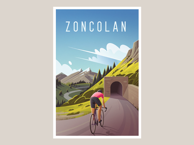 Monte Zoncolan giro trees mountains forest landscape poster bicycle cycling illustration
