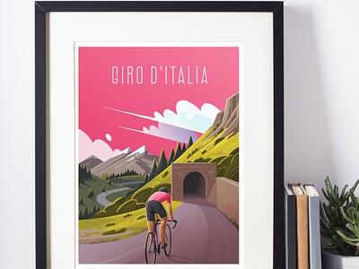 Giro D'Italia italy tourdefrance giroditalia mountains forest poster bicycle cycling illustration