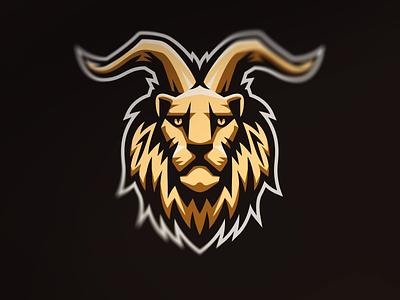 Chimera gold mane chimera demon devil horns lion logo illustration