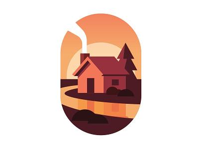 Fresh coffee camping sunrise river cabin illustration