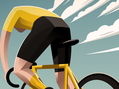 Alone at the top bike cyclist bicycle sky clouds cycling tour de france yellow jersey