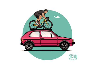 I'd rather be riding ride badge sky car athlete cyclist rack vw bike golf cycling