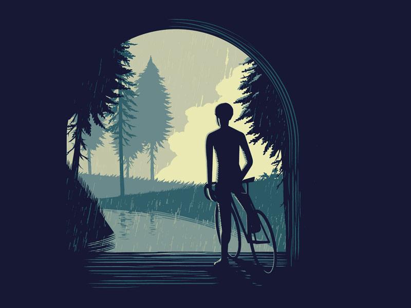 Waiting for the Rain ukiyo-e rain japanese woodcut lino linocut cycling