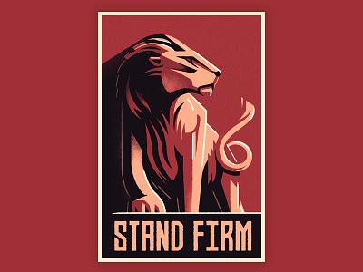 Keep Calm and Carry On propaganda retro art deco lion poster