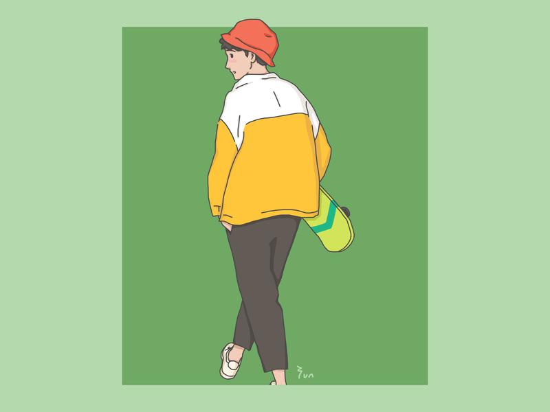 Follow me. play follow me skateboard street fun boy art yununuan illustration drawing design character