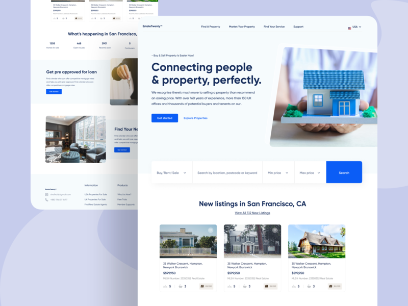 Real Estate / Property Finder Website Design real estate logo property logo uiuxdesign real estate app webdesign website landing page property management real estate branding property finder property real estate agency real estate agent real estate app ui design ui design uiux uidesigner uidesign