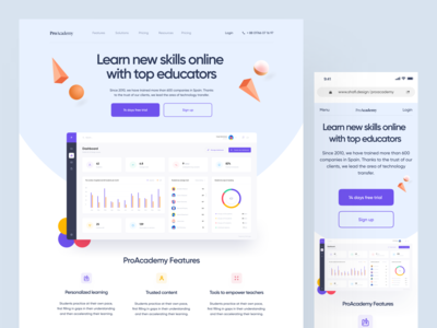 ProAcademy Online Learning Platform dashboard education dashboard websites website design lms education course webdesigner websitedesigner webdesign landingpage app ui design design uiux uidesigner uidesign web design webui websitedesign website