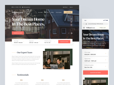 Real Estate Agent Website Home Page UI Design realestate logo real estate websiteui homepage uidesigner uidesign userinterface property website property search property uiuxdesigner uiuxdesign webdesigner webdesign website designer website design realestatelogo realestateagent realestate