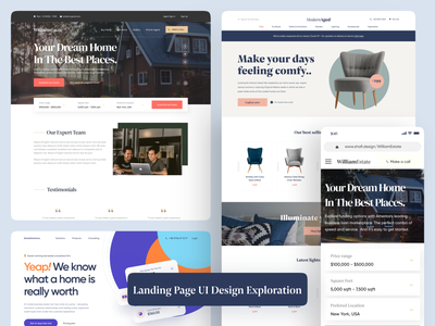 Landing Page Page UI Design Exploration website designer landing page ui landing page real estate website estate agency website design real estate designer real estate realestate designer website uiuxdesign landingpage app ui design ui design uiux uidesigner uidesign