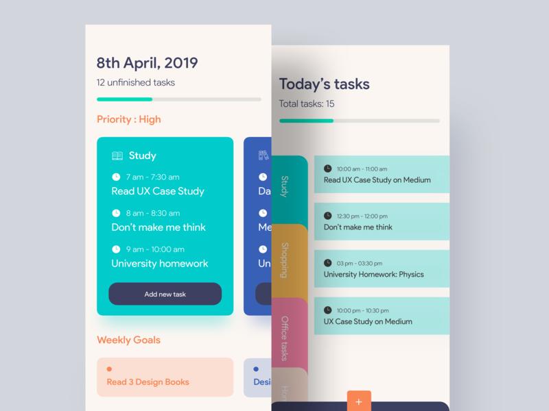 Task Management App card todolist todo app ui task management task app task designer header android app appui app ui design app app concept ios ui uiux uidesigner uidesign design