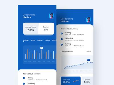Fitness Tracker App 🏋🏽♀️🏊🏽♂️🏃🏼 health app gym app fitness app fitness uiuxdesign ios app designer app ui app app ui design android app appui app concept ios gif uiux ui uidesigner uidesign design
