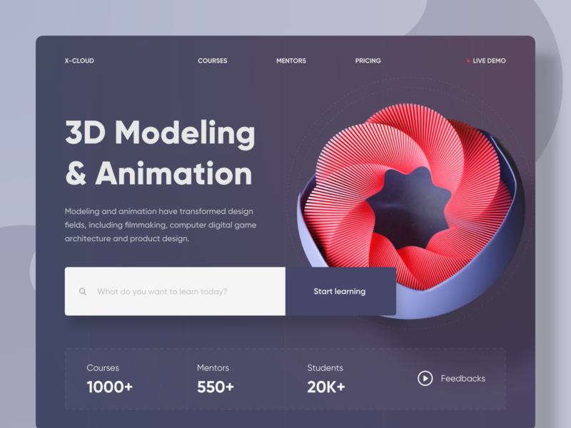 3D Modeling & Animation Course Landing Page Header