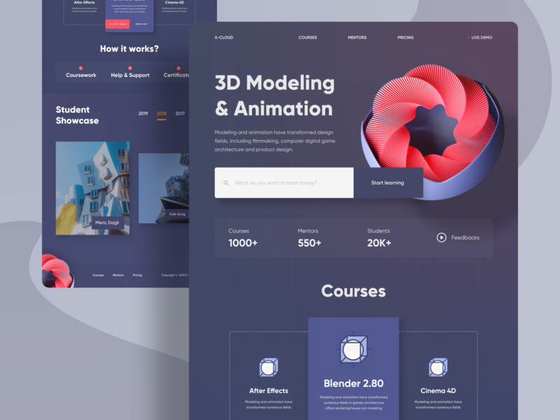 Learning 3D Website Design - Home Page mobile web landing page ui landingpage website design cinema4d blender 2.8 3d landing page 3d webdesign websites web design 2020 2019 trends website uiux uidesigner ui uidesign design