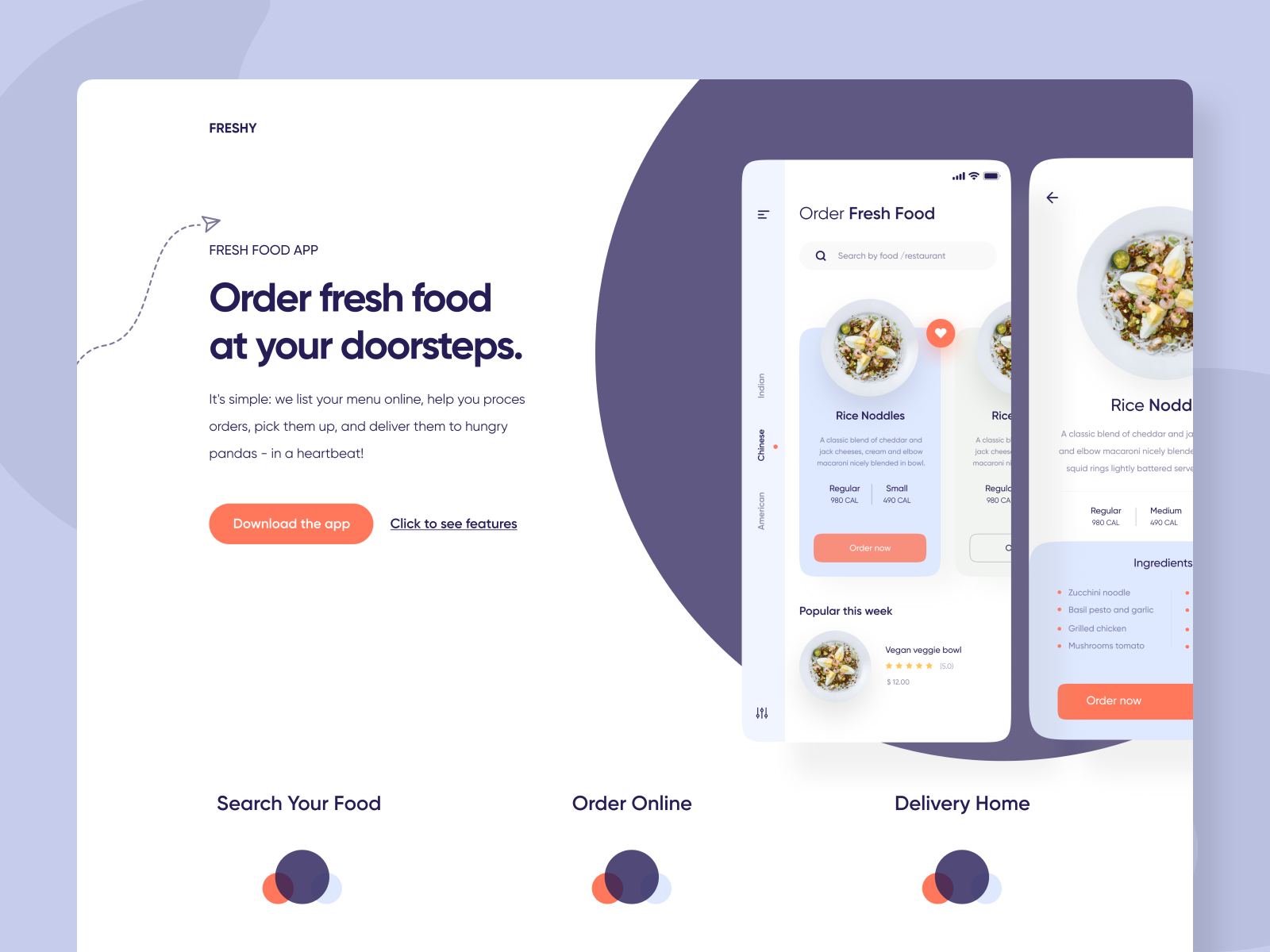 Food Delivery App Landing Page Header By Shafi For Isavelev On Dribbble
