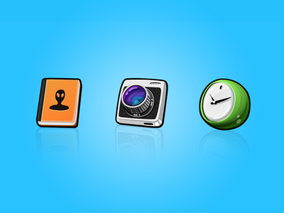 'Sushi' - a mobile system icon design lemonade sushi contacts clock camera icon cute