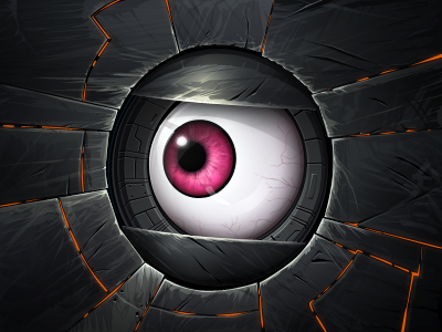 Robot eye game design illustration robot eye eyeball future icon sci-fi